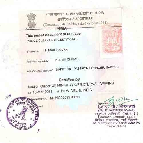 Police Clearance Certificate (PCC) Attestation in India